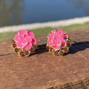 Bright Pink Hibiscus Flower Earrings Crystal Pavé